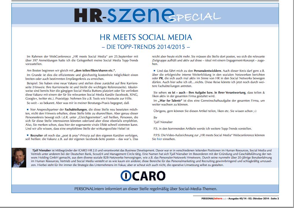 HR meets Social Media – Die Topp-Trends 2014/2015