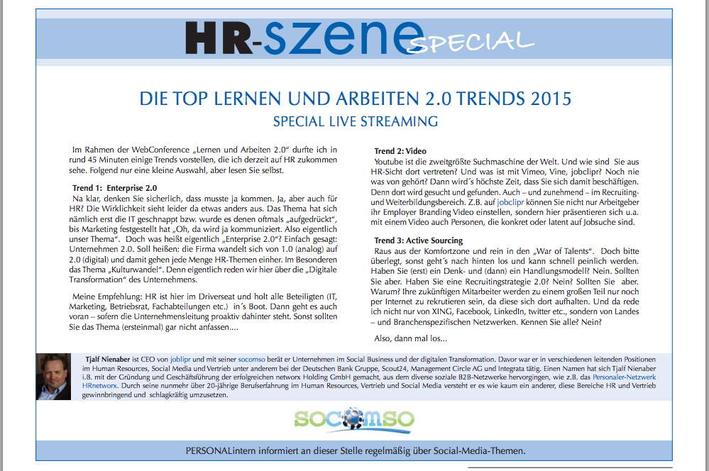 Die Top Lernen und Arbeiten 2.0 Trends 2015