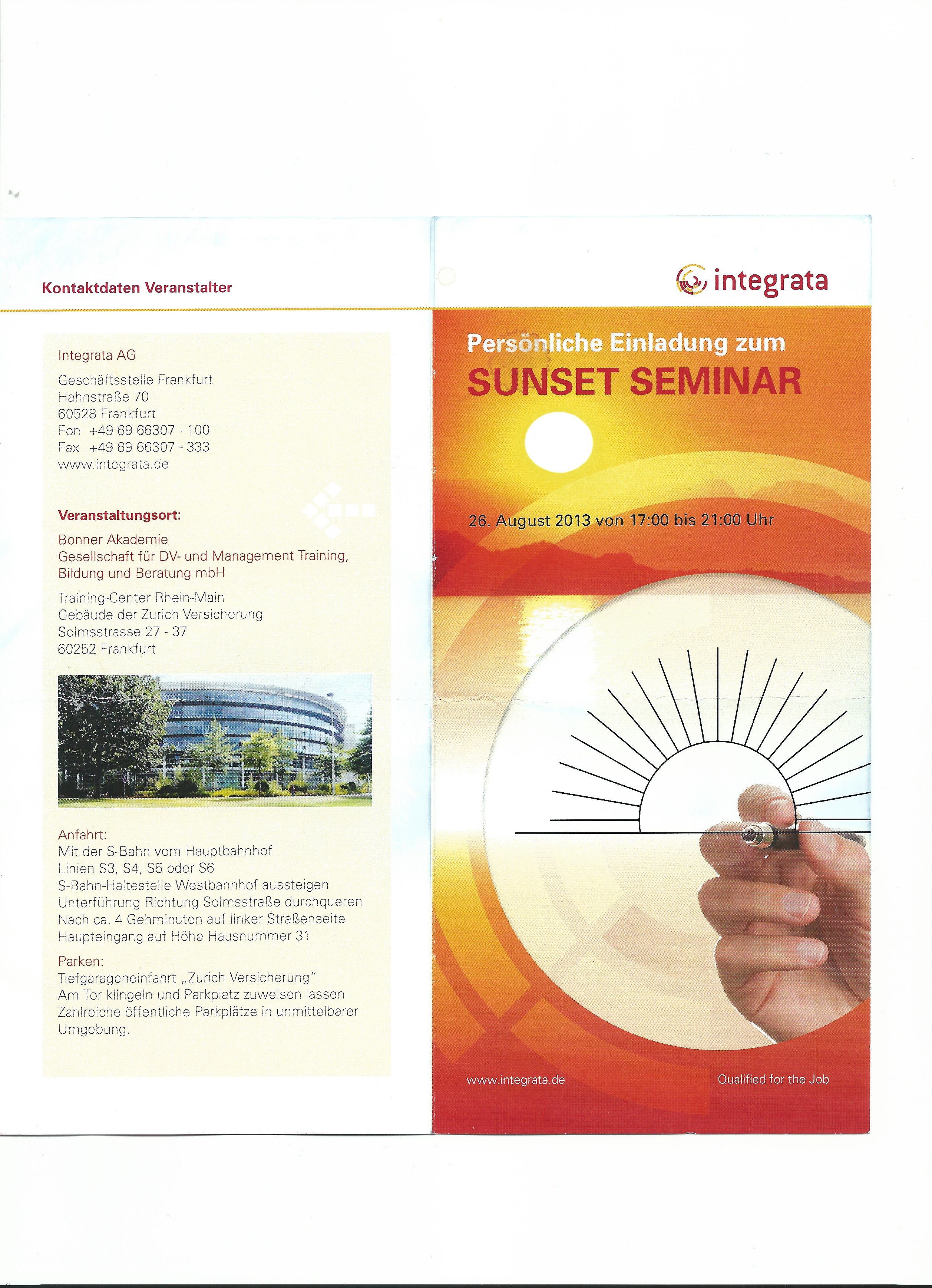 SUNSET SEMINAR der Integrata in Frankfurt