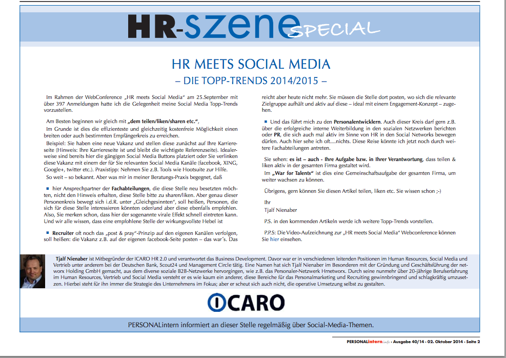 HR meets Social Media – Die Topp-Trends 2014/2015