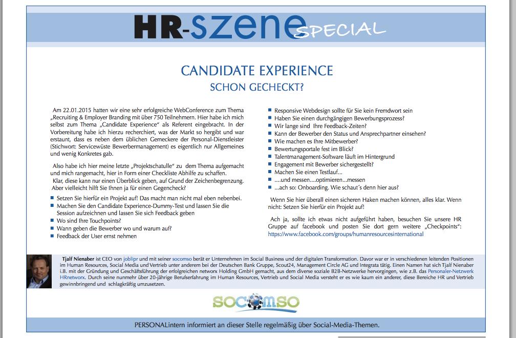 Candidate Experience –  schon gecheckt?